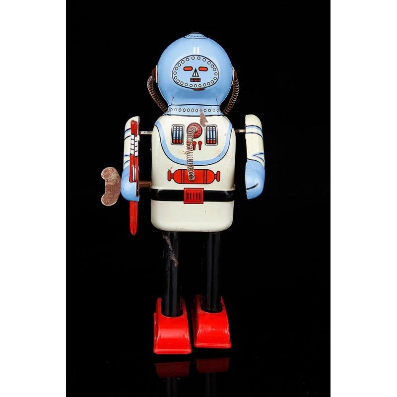 Original Robot Vintage en Metal Esmaltado y Funcionando