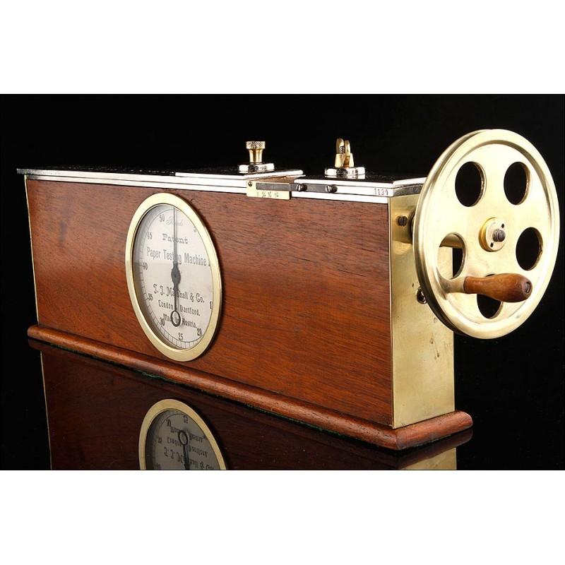 Original Máquina para Comprobar la Resistencia del Papel. Fabricada en Austria en el S. XIX. Funcionando