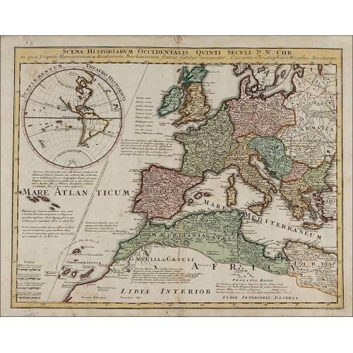 Antiguo Mapa de 1720 de C. Weigel que Muestra la Situación Histórica de Europa en el Siglo V.