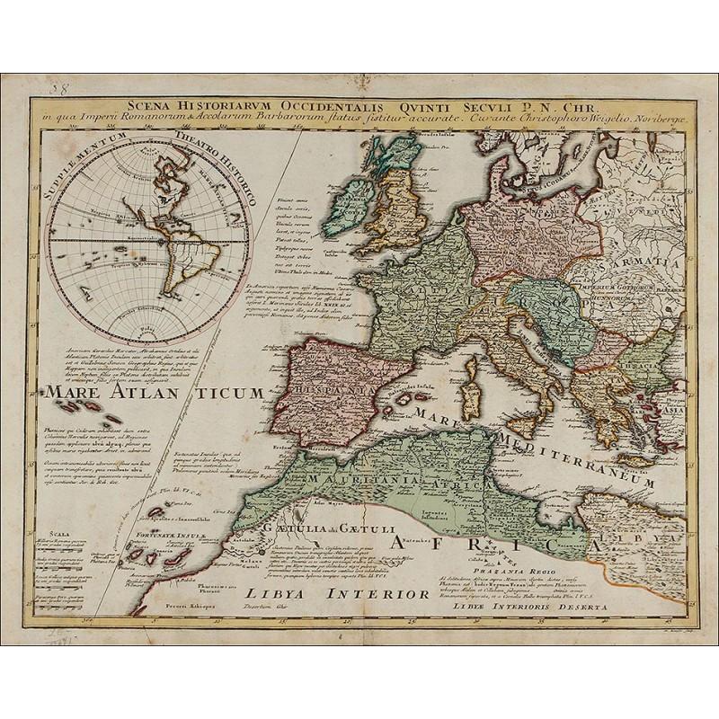 Antiguo Mapa De 1720 De C Weigel Que Muestra La Situacion