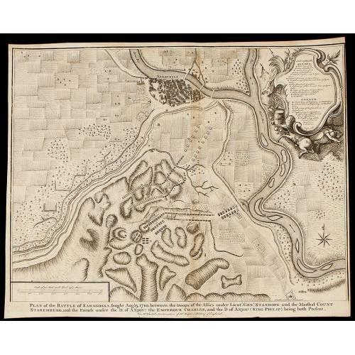 Grabado la Guerra de Sucesión del año 1745 Representando la Batalla de Zaragoza de 1710
