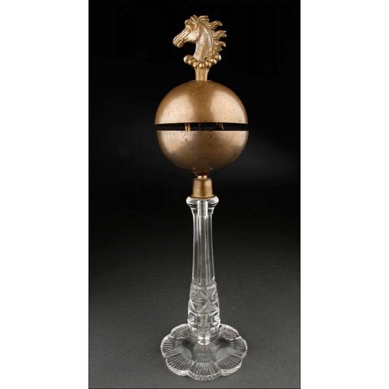 Raro Llamador de Sobremesa de Bronce y Vidrio, Fabricado a Principios del Siglo XX. Bien Conservado