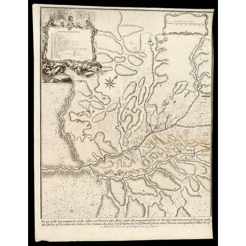 Grabado la Guerra de Sucesión del año 1745 Representando la Batalla de Prats del Rey de 1711