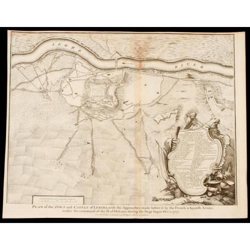 Grabado la Guerra de Sucesión del año 1745 Representando el la Ciudad de Lérida en 1707. J. Basire