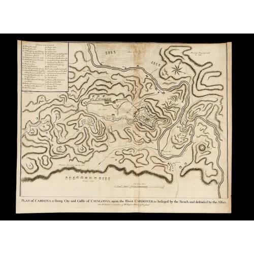 Grabado la Guerra de Sucesión del año 1745 Representando el Plano del Sitio de Cardona en 1711. J. Basire