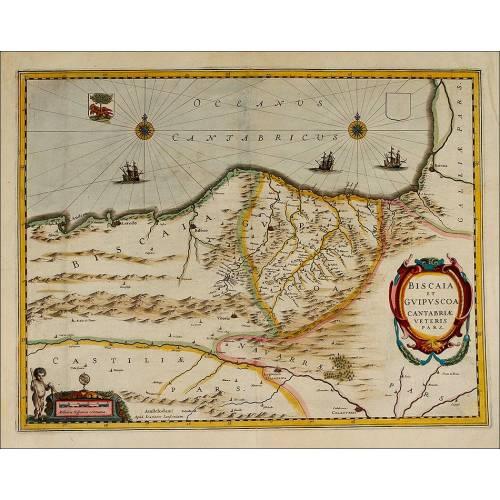 Precioso Mapa de la Costa Cantábrica Española. Circa 1650, Coloreado Original