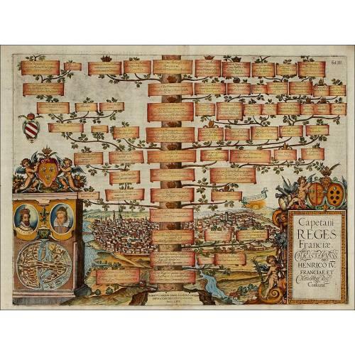 Grabado del Árbol Genealógico de los Reyes de Francia. Año 1608. Color Original