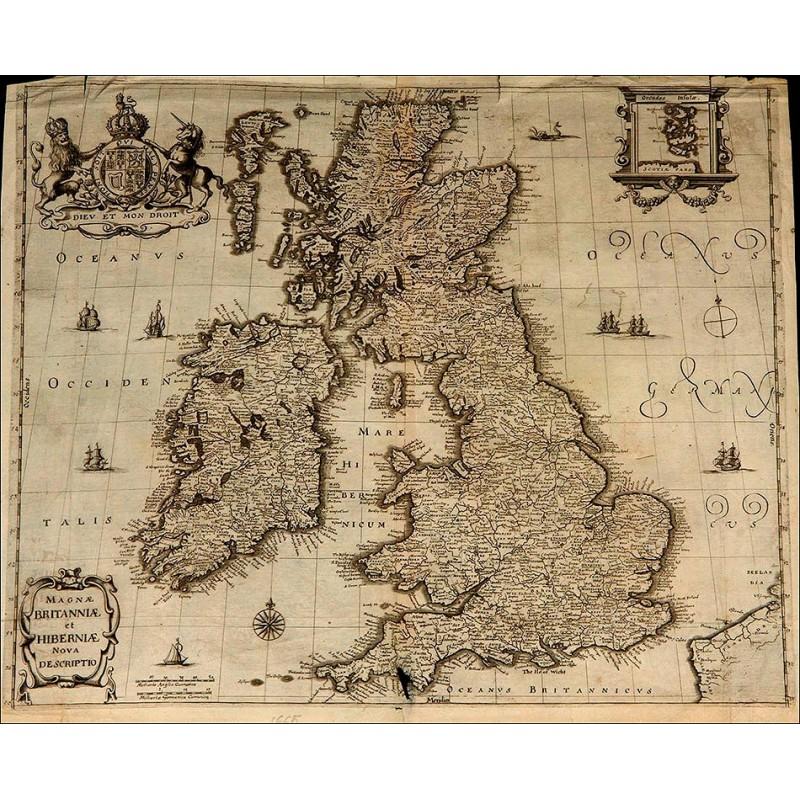 Magnífico Grabado Antiguo con el Mapa de Inglaterra e Irlanda. Año 1665