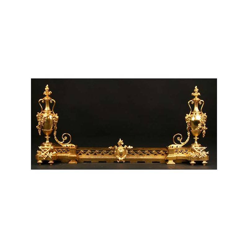 Morillos de chimenea en bronce dorado. S. XIX