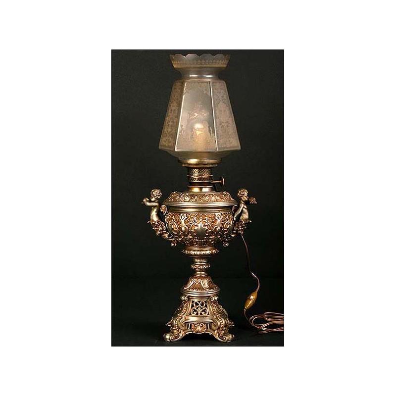 Lámpara de aceite electrificada. S. XIX. 61 cms de altura