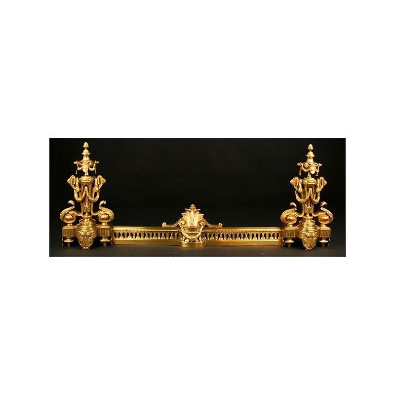 Morillos de chimenea en bronce dorado. Finales del siglo XIX.
