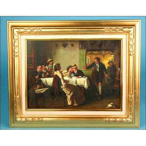 Cuadro en oleo reunion de taberna, firmado L.Simons Fiammingo.