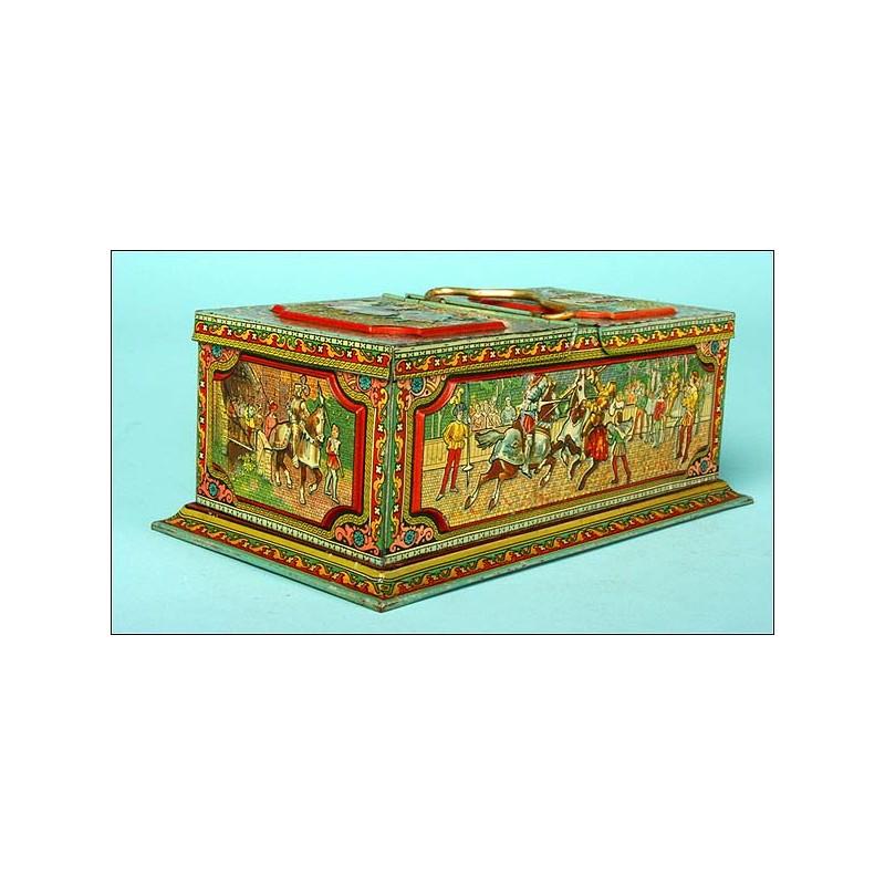 """Impecable caja de colec. metálica de galletas """"Hutley & Palmers Ltd"""",Mod.Mosaico."""