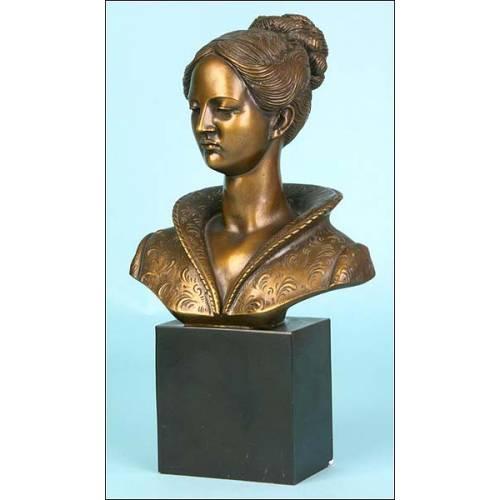 Busto de mujer en Bronce. Arnaldo Giannelli. Italia