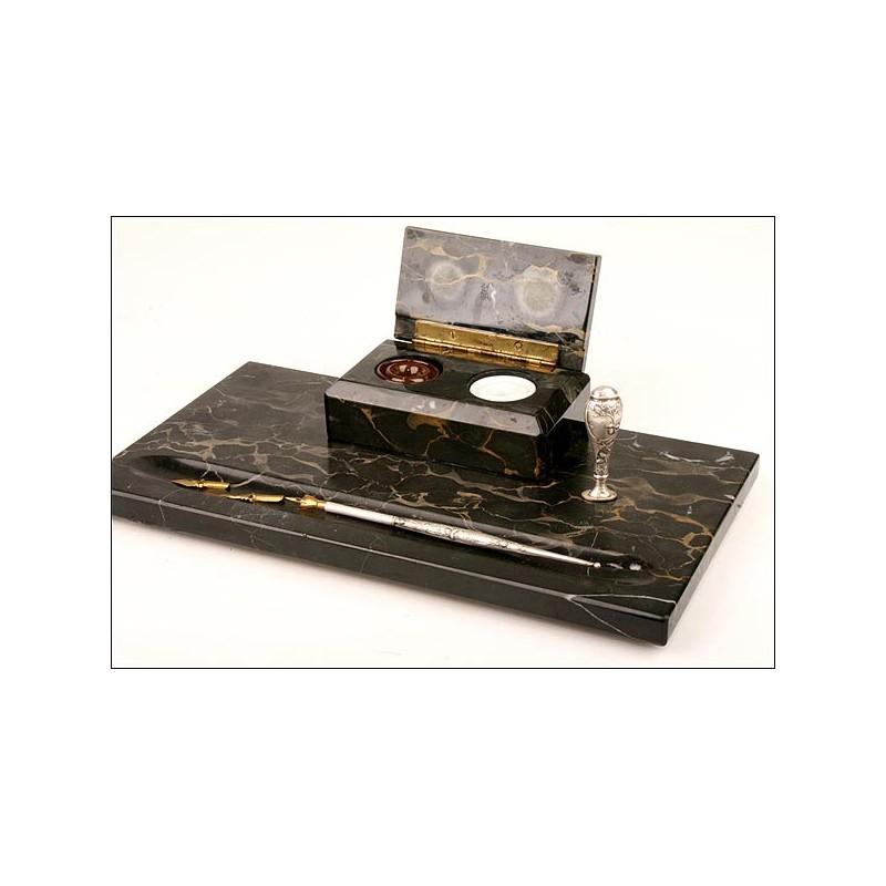 Juego de escritorio modernista en plata maciza