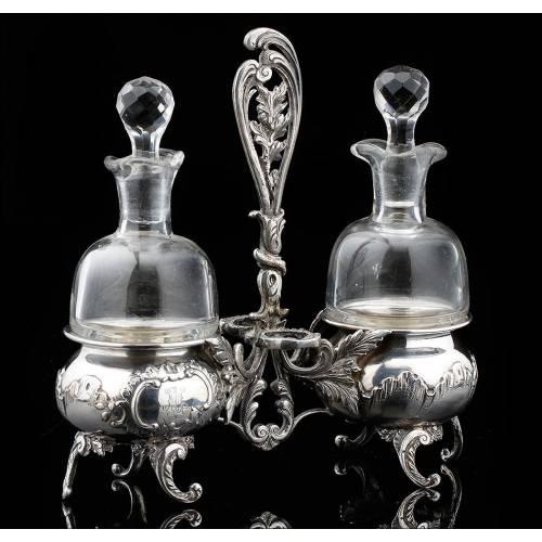 Pequeñas Vinagreras de Plata y Cristal Soplado S.XIX-XX.