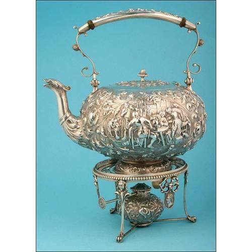 Increíble Tetera de Plata Maciza del Siglo XIX