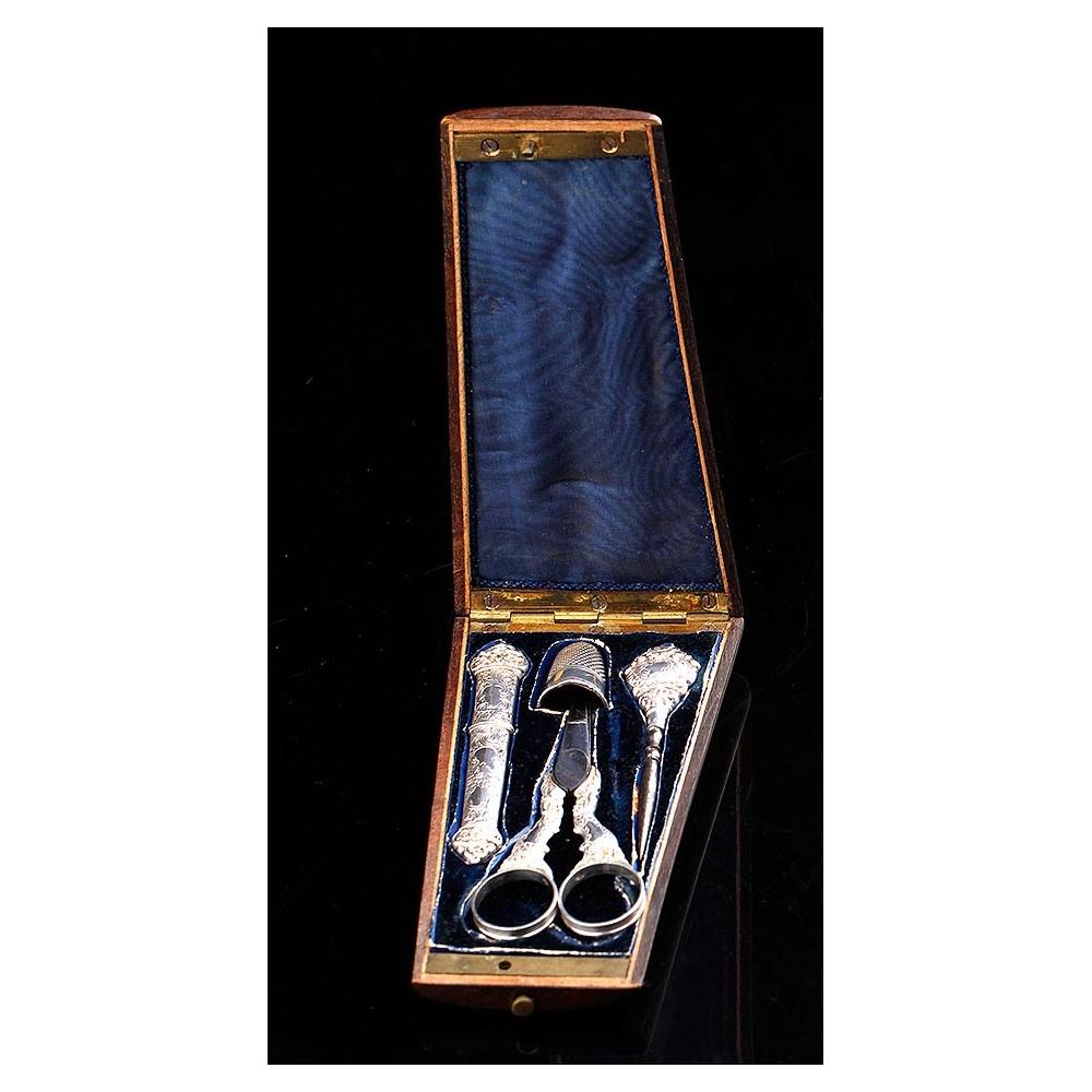 Set de costura antiguo de plata maciza en su estuche original francia siglo xix - Set de costura ...