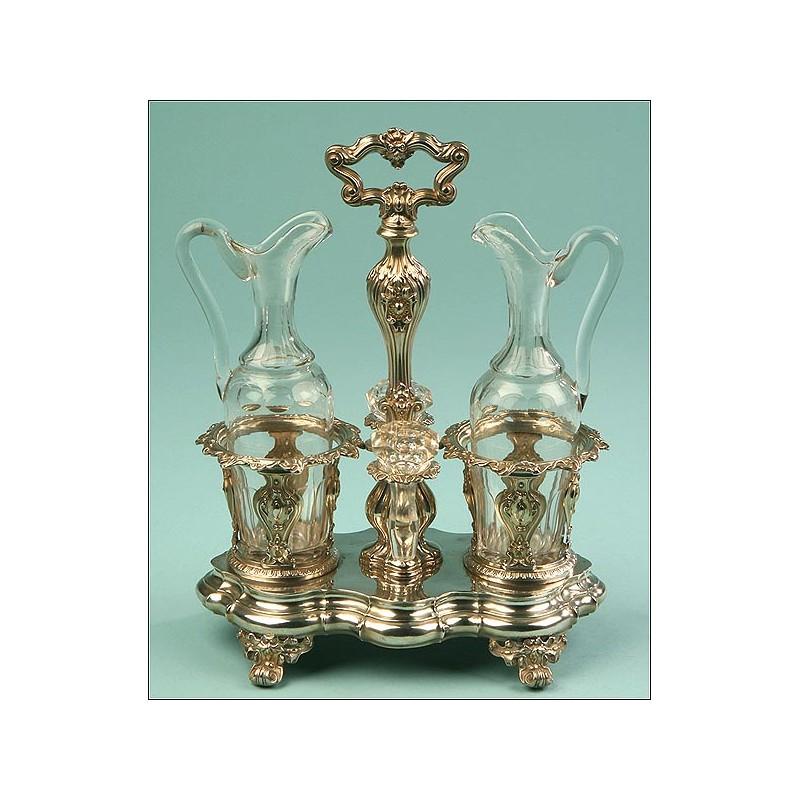 Vinagreras Francesas, Plata Maciza, Siglo XIX. Gran tamaño. Cristalería orginal