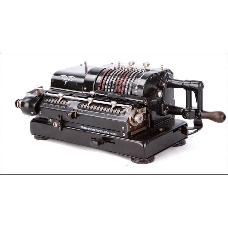 Antigua Calculadora de Molinete Triumphator Z en Funcionamiento. Alemania, Años 30