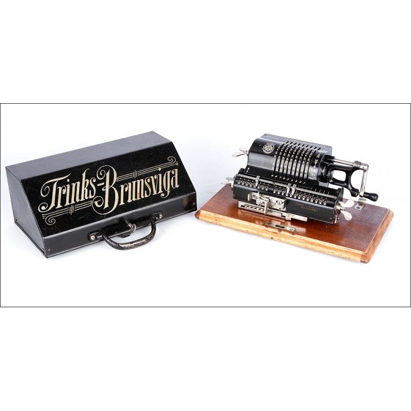 """Preciosa Calculadora Brunsviga B """"System-Trinks"""" Funcionando Bien. Alemania, Circa 1910"""