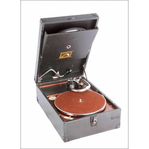 Antiguo Gramófono de Maleta HMV Modelo 101 en Funcionamiento. EEUU, 1929