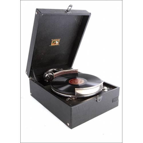 Magnífico Gramófono de Maleta Antiguo His Master's Voice. Modelo 97-B. Gran Bretaña, 1935
