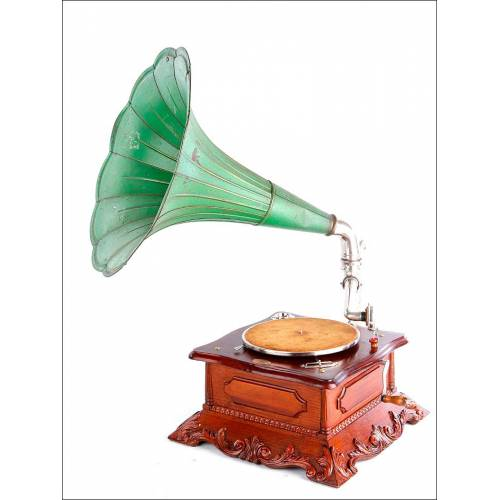 Precioso gramófono de trompeta antiguo de estilo modernista. En magnífico estado. Pieza de colección.
