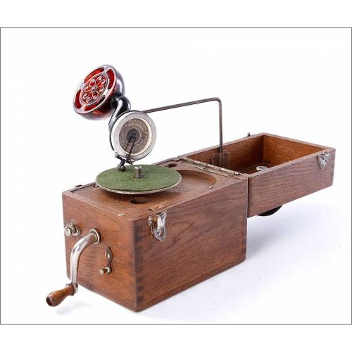 """Antiguo Gramófono de Bolsillo """"Cameraphone"""" en Funcionamiento. Alemania, Años 20"""