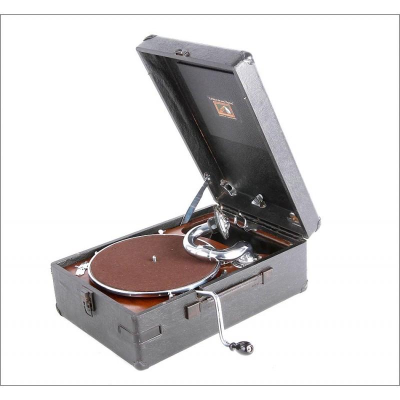 """Gramófono de maleta antiguo """"La Voix de Son Maitre"""". Modelo 102. En perfecto estado de funcionamiento."""