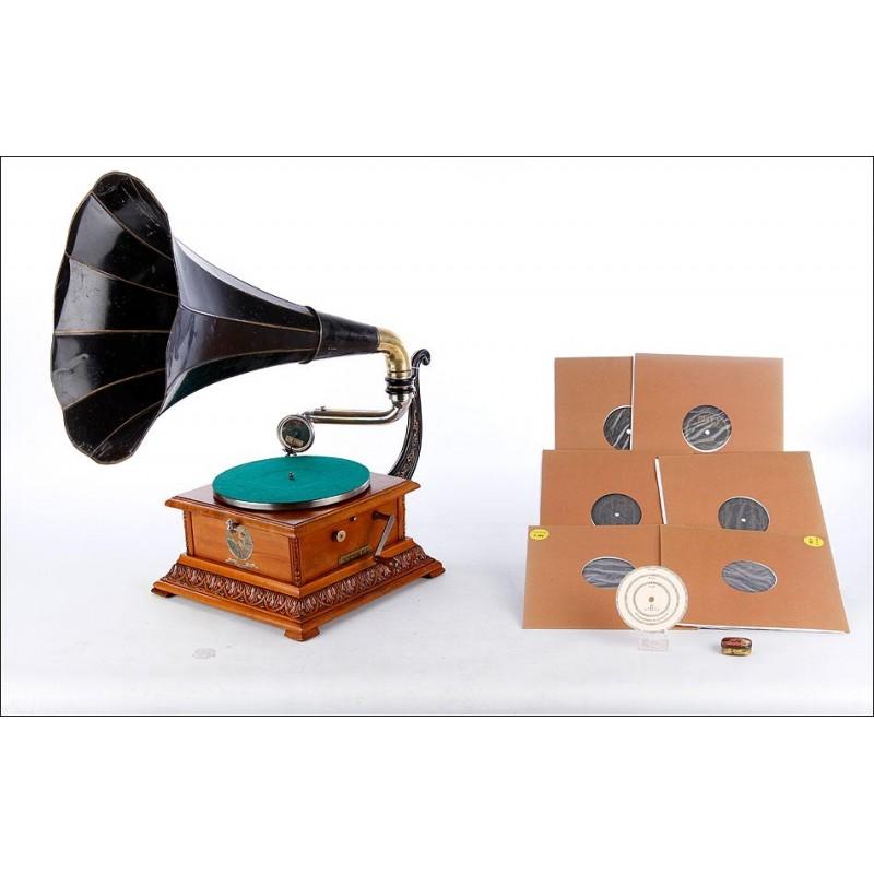 Impresionante Gramófono Pathephone Nº 4 Funcionando Perfectamente. Francia, Circa 1915