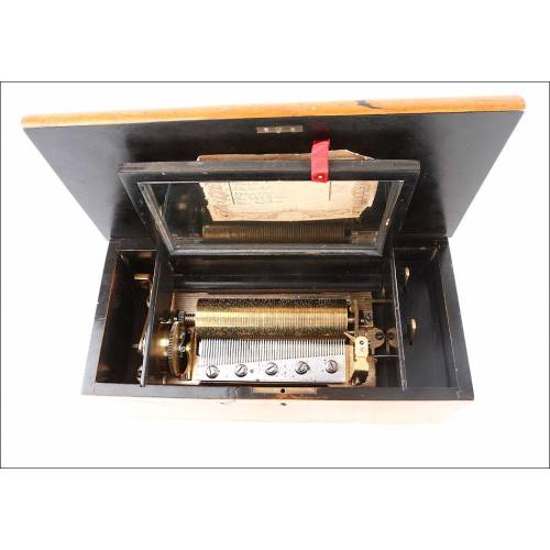Elegante caja de música antigua en madera maciza. Funciona perfectamente. Suiza S. XIX