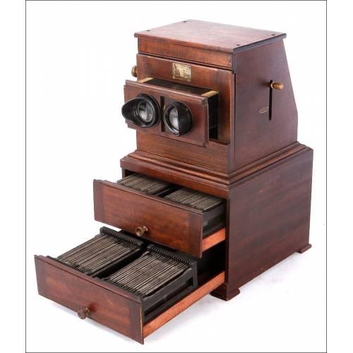 Antiguo Estereoscopio Magnético Planox en Buen Estado. Francia, Circa 1900