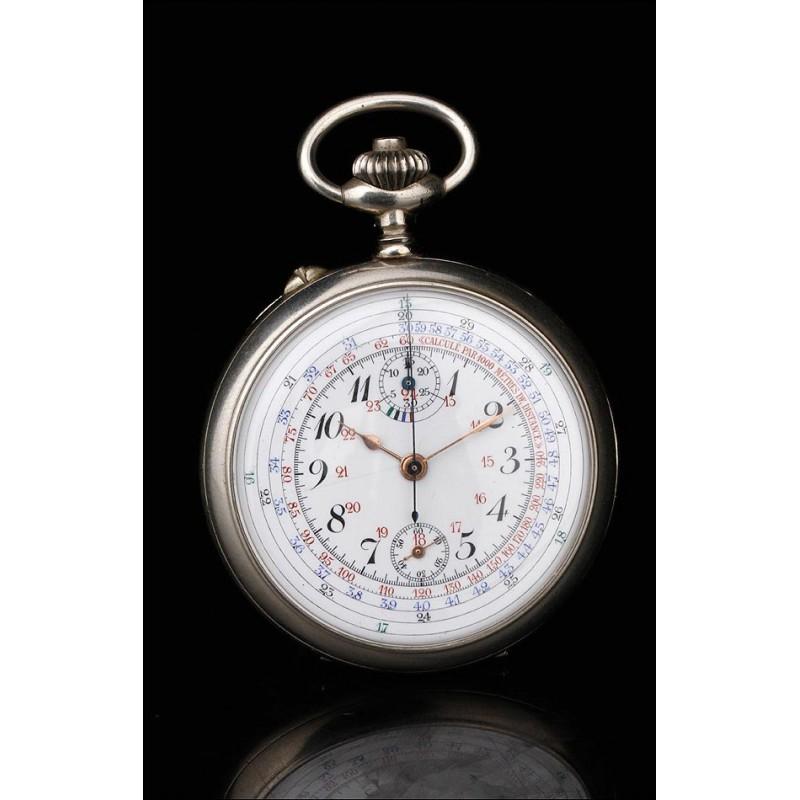 Antiguo Reloj-Cronómetro de Bolsillo para Oficial de Artillería. Francia, Circa 1910