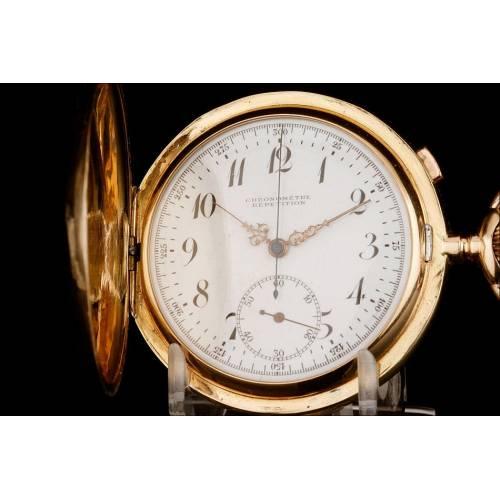 Antiguo Reloj de Bolsillo de Oro Macizo 18K con Sonería y Cronógrafo. Circa 1900