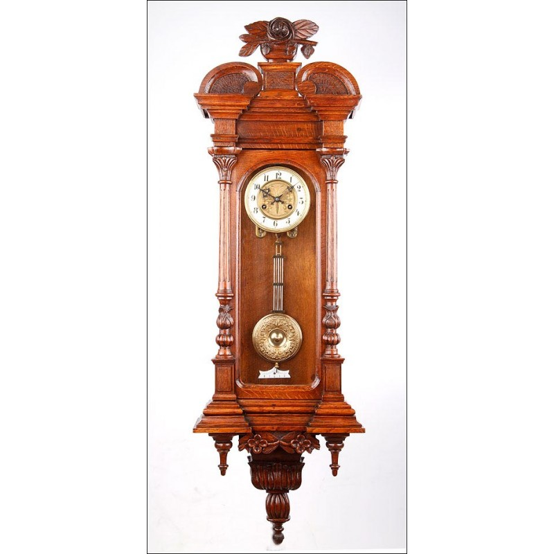 Antiguo Reloj de Pared Junghans en Perfectas Condiciones. Alemania, 1900