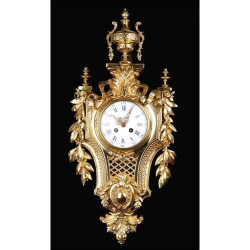 Precioso Reloj de Pared de Bronce. Sonería de horas y medias. Japy Freres. Francia, Siglo XIX