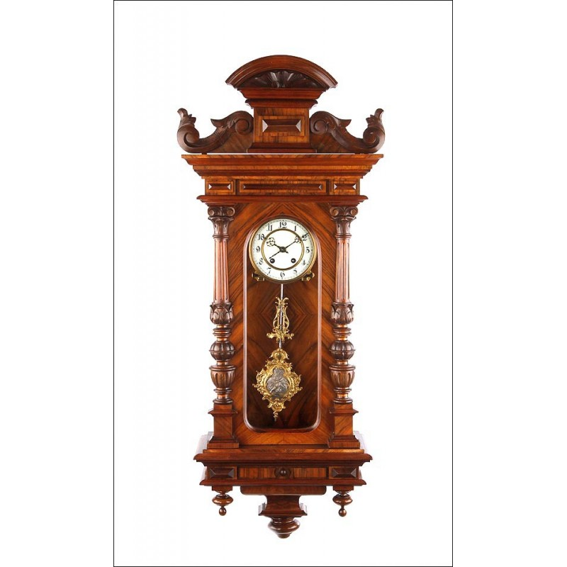 Maravilloso Reloj de Pared Lenzkirch Totalmente Restaurado. Alemania, 1873
