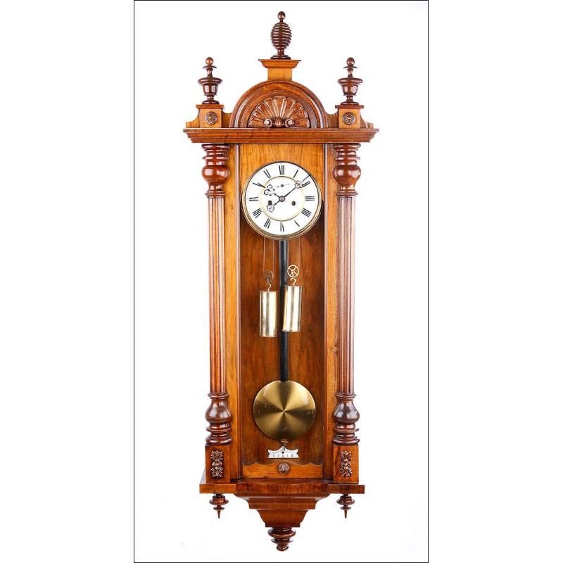 Reloj de Pared Antiguo, regulador Viena, Gustav Becker en Funcionamiento. Alemania, Circa 1890