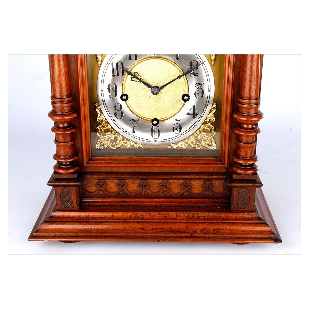 Maravilloso reloj de sobremesa antiguo en caoba con - Relojes de sobremesa antiguos ...