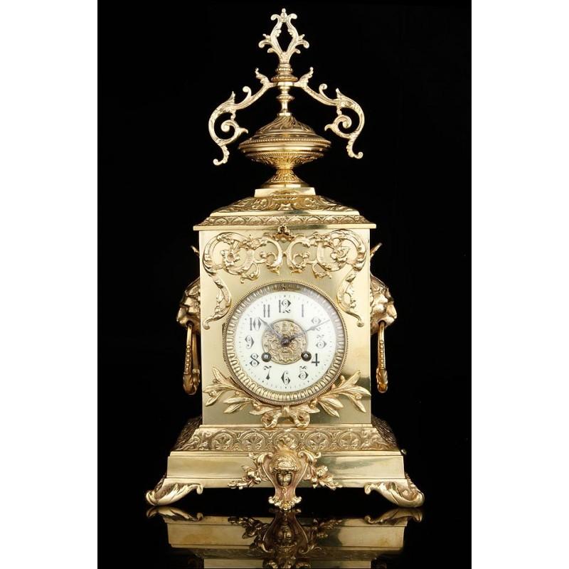 Reloj de Sobremesa Antiguo en Bronce. Francia, Siglo XIX