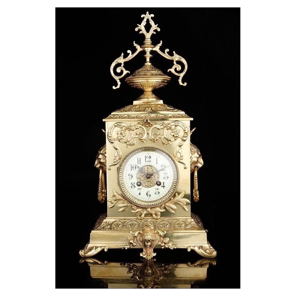 Reloj de sobremesa antiguo en bronce francia siglo xix - Relojes de sobremesa antiguos ...