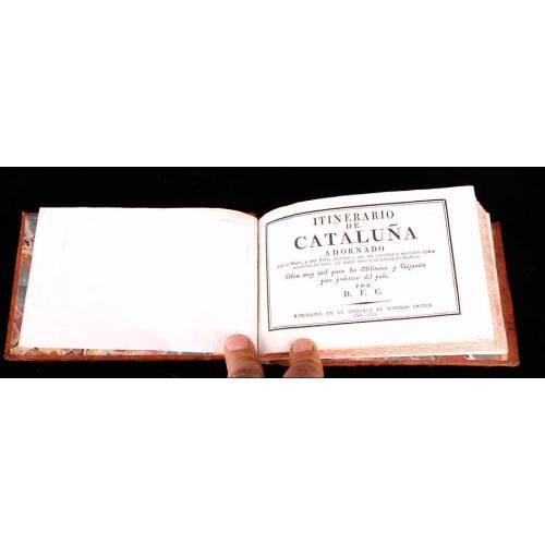 """Barcelona, 1823. """"Itinerario de Cataluña Adornado"""". Libro Antiguo Encuadernado en Piel"""