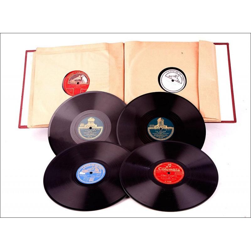 Álbum con 12 Discos Antiguos de Gramófono. Música Popular y Clásica. Álbum Original