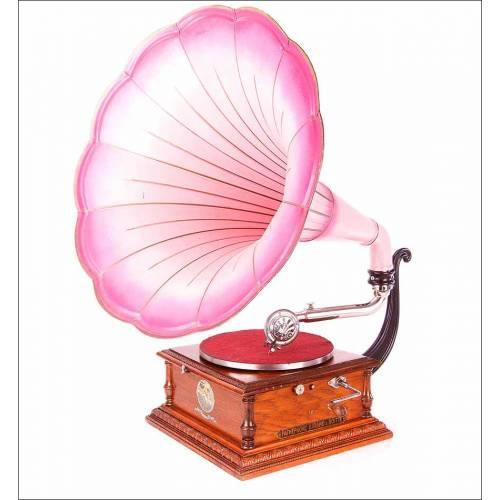Impresionante Gramófono Antiguo Pathephone en Excelente Estado. Francia, 1910