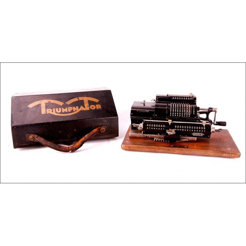 Calculadora Antigua Triumphator IIa en Funcionamiento. Alemania, Circa 1920