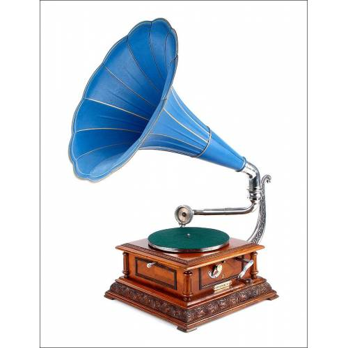 Espectacular Pathephone 8, Gran Lujo, Caja de Caoba, Fabricado en Francia Circa 1915