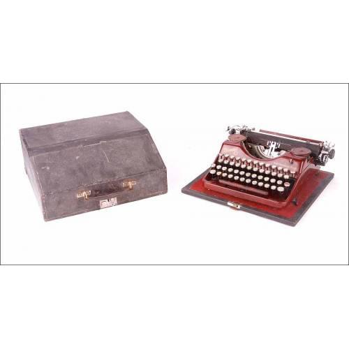 Elegante Máquina de Escribir Antigua Rheinmetall. Modelo Portátil. Alemania, Años 30