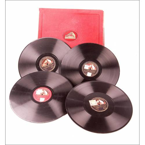 Álbum con 12 Discos de Gramófono Antiguos. Música Clásica. Álbum Original