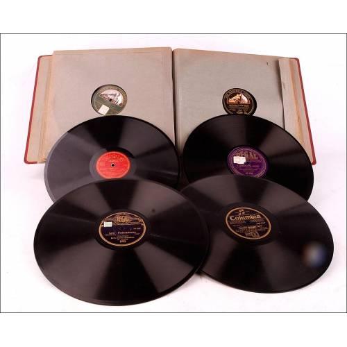 Álbum con 12 Discos de Gramófono Antiguos. Música Clásica y Popular. Álbum Original